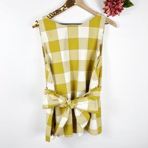 [ANN TAYLOR] Yellow Squares Bow Tie Top